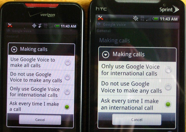 Google Voice Verizon vs Sprint